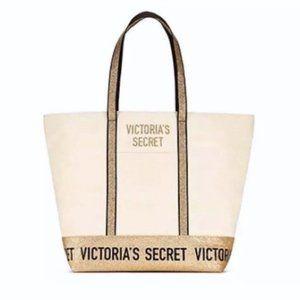 Victoria's Secret Gold Glitter Weekender Tote Bag